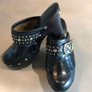 Michael Kors leather studded buckle clogs GORGEOUS